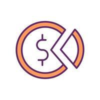 icona di colore di ricchezza e distribuzione del reddito vettore