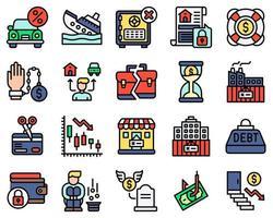 set di icone vettoriali relative al fallimento stile pieno