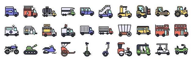 set di icone vettoriali relative ai trasporti stile riempito