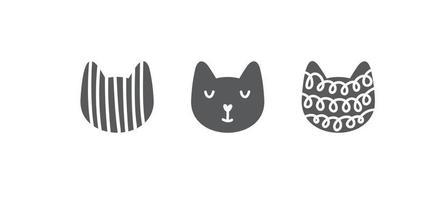 stampa infantile di gatto dal viso carino. perfetto per t-shirt nordica, abbigliamento, cartoline, poster, decorazioni per la scuola materna. illustrazione scandinava di vettore. vettore