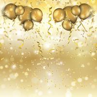 Palloncini oro e sfondo coriandoli vettore