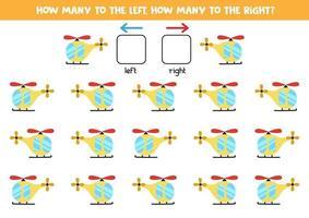 a sinistra oa destra con l'elicottero. foglio di lavoro logico per bambini in età prescolare. vettore
