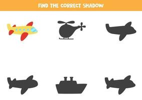 trova l'ombra corretta dell'aereo. puzzle logico per bambini. vettore