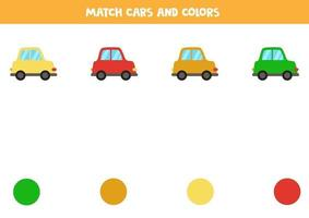 gioco di corrispondenza dei colori per i bambini. abbina auto e colori. vettore