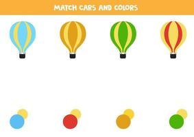 gioco di corrispondenza dei colori per i bambini. abbinare palloni ad aria e colori. vettore