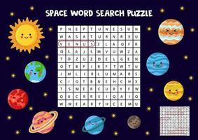 puzzle di ricerca a tema spaziale. trova tutti i pianeti. vettore