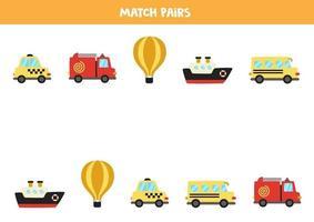 abbinare le coppie di trasporto dei cartoni animati. gioco logico per bambini. vettore