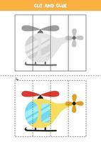 tagliare e incollare gioco per bambini. elicottero dei cartoni animati. vettore