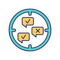 icona del colore del metodo qualitativo e di ricerca vettore