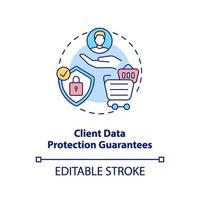 la protezione dei dati del cliente garantisce l'icona del concetto vettore