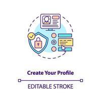 crea la tua icona del concetto di profilo vettore