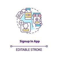 registrarsi nell'icona del concetto di app vettore