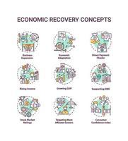 set di icone di concetto di ripresa economica vettore