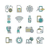 set di icone di colore in roaming vettore