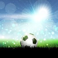 Pallone da calcio nel paesaggio erboso vettore