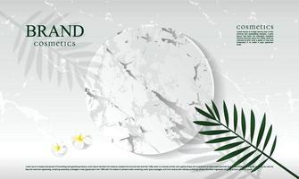 sfondo podio in marmo bianco per la visualizzazione di prodotti cosmetici con foglie e ombre vettore