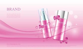 pubblicità di prodotti cosmetici con orchidee e illustrazione vettoriale di flusso d'acqua