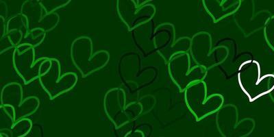 modello vettoriale verde chiaro con cuori colorati.