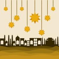 eid mubarak stelle appendiabiti d'oro e disegno vettoriale di edifici della città