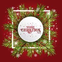 Sfondo di Natale con rami di abete e bacche vettore
