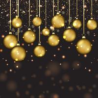 Palline d'oro di Natale vettore