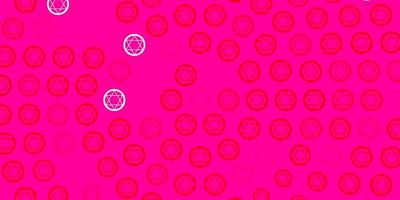 sfondo vettoriale rosa chiaro, rosso con simboli misteriosi.