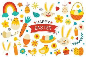 felice Pasqua elementi design piatto vettore