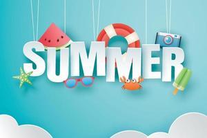 ciao estate con origami di decorazione appesi sullo sfondo del cielo blu vettore