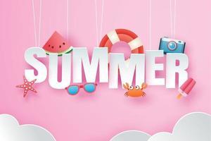 ciao estate con origami di decorazione appesi sullo sfondo del cielo rosa vettore