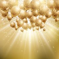 Sfondo di palloncini d'oro vettore