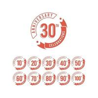 30 anni di anniversario insieme celebrazioni elegante modello vettoriale illustrazione design