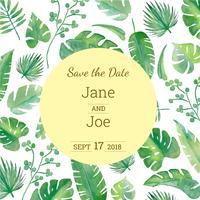 Save The Date Acquerello foglie esotiche vettore