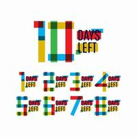 10 giorni rimanenti numero illustrazione vettoriale modello di progettazione