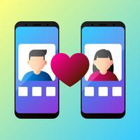 Concetto di app di datazione in linea con l'illustrazione di vettore della donna e dell'uomo