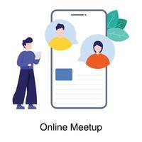 concetto di app per riunioni online vettore