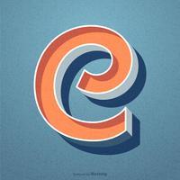 Retro disegno di vettore di tipografia della lettera C 3D