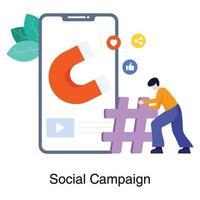 concetto di campagna sui social media vettore