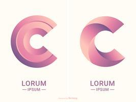 Modelli astratti di progettazione di logo di vettore di tipografia della lettera C