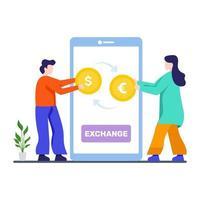 concetto di app di cambio valuta vettore