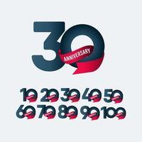 Illustrazione di progettazione del modello di vettore di pendenza del nastro di celebrazione di anniversario di 30 anni