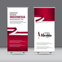 illustrazione felice di progettazione del modello di vettore del mercato creativo della celebrazione del giorno dell'indipendenza dell'indonesia