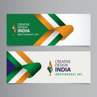 illustrazione felice di progettazione del modello di vettore di progettazione creativa di celebrazione del giorno dell'indipendenza dell'india