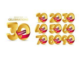 30 anni di anniversario incredibile celebrazione oro modello vettoriale illustrazione design