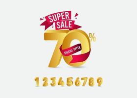 super vendita 70 offerta speciale etichetta oro modello vettoriale illustrazione design