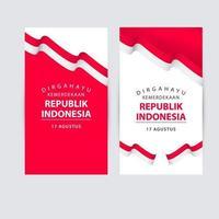 felice illustrazione del logo di progettazione del modello di vettore di celebrazione del giorno dell'indipendenza dell'indonesia