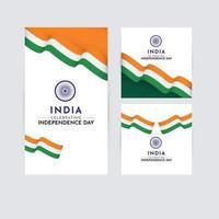 illustrazione del logo di progettazione del modello di vettore di celebrazione del giorno dell'indipendenza dell'india felice
