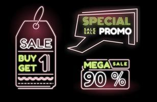 Vettore al neon dell'insegna di sconto di grande vendita di promo