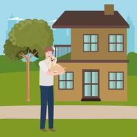 uomo di sollevamento mascotte del cane nella casa all'aperto vettore