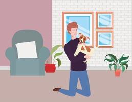 giovane con mascotte cane carino in soggiorno vettore
