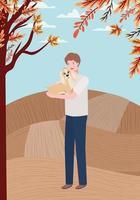 giovane con cane carino all'aperto vettore